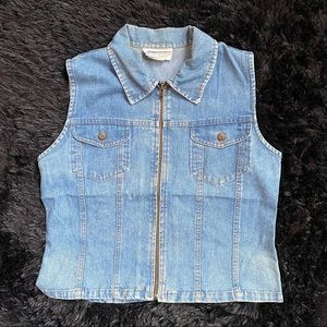 Women's vintage denim vest zip up large